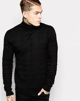 Religion Textured Roll Neck Knitted Jumper - Black