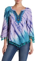 Hale Bob Long Sleeve Embellished Tassel Trim Tunic