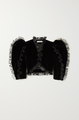 Givenchy Cropped Ruffled Plisse Organza-trimmed Velvet Jacket - Black