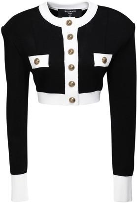 Balmain Knit Viscose Button Crop Jacket