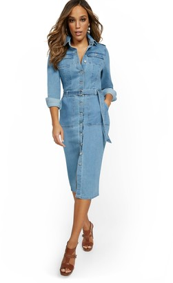 New York & Co. Denim Utility Midi Shirtdress