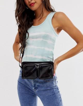 Pieces double front pocket cross body bag-Black