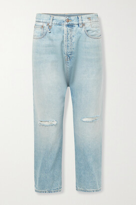 R13 - Cropped Distressed Straight-leg Jeans - Blue