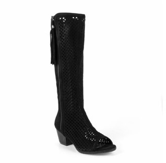 Nature Breeze Peep Toe Women's Perforated Boots in Black
