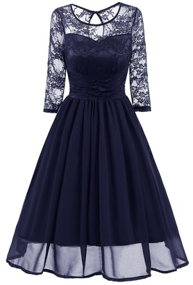 HaoHuodress Women's See Through Floral Lace Chiffon Skirt Cut Out Open Back Bridesmaid Dress Round Neck 3/4 Sleeve Knee Length Wedding Cocktail Swing Party Dress