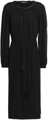 Alberta Ferretti Tasseled Braid-trimmed Jersey Midi Dress