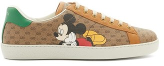Gucci Ace Mickey Mouse Canvas Trainers - Brown