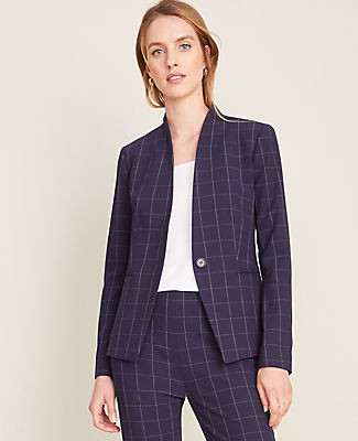 Ann Taylor The Cutaway Blazer in Navy Windowpane Bi-Stretch