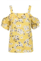 Quiz Yellow Flower Print Strap Frill Top