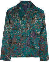 Mes Demoiselles Theodose Quilted Silk Jacket - Forest green
