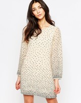 Yumi Long Sleeve Shift Dress In Polka Dot