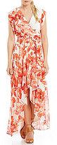 Eliza J Floral Printed Hi Lo Chiffon Maxi Dress