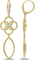 Catherine Malandrino 18k Yellow Gold Plated Circle Linked Drop Earrings.