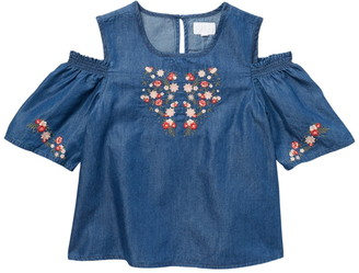 BCBGirls Embroidered Cold Shoulder Chambray Top