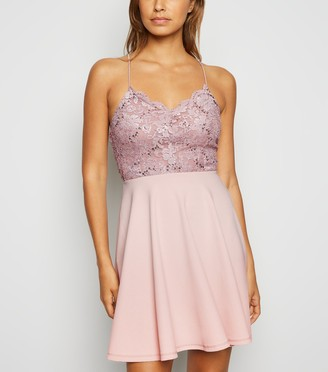 New Look Lace Sequin Skater Dress