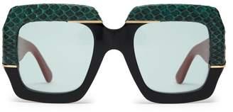 Gucci Contrast-panel Square Acetate Sunglasses - Womens - Black Green