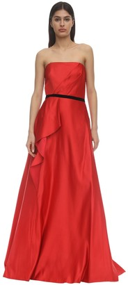 Marchesa Notte Strapless Satin Gown