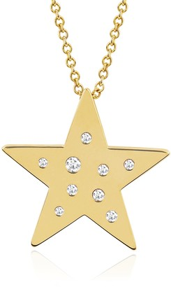 Ef Collection 14K Yellow Gold Diamond & White Sapphire Star Shape Pendant Necklace