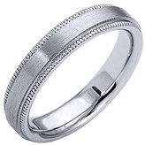 14K White Gold Mens Wedding Band 4mm Satin Milgrain Comfort Fit