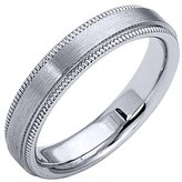 TheJewelryMaster 14K White Gold Mens Wedding Band 4mm Satin Milgrain Comfort Fit