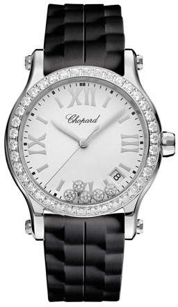 Chopard 36 mm Happy Sport Medium Stainless Steel Watch with Diamonds