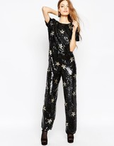 Asos Star Embellished Jumpsuit with Wide Leg