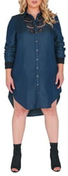 Standards & Practices Felicity Lace Trim Denim Shirtdress