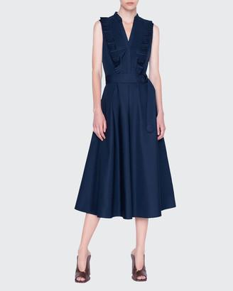 Akris Punto Plisse Cotton Midi Belted Dress