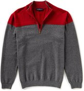 Roundtree & Yorke Color Block Zip Chest Sweater