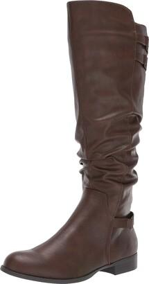 LifeStride Womens Faunia-Wc Dark Tan Wide Calf high Shaft Boots 11 W
