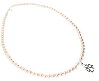 Swarovski Chic A Boo Crystal Cream Pearl and Sterling Silver Angel Necklace of Length 35cm