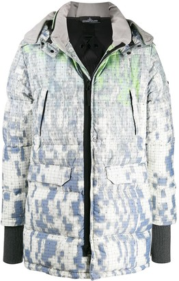 Stone Island Shadow Project checked pattern parka coat