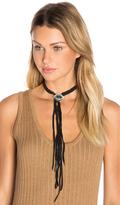 Ettika Leather Fringe Choker