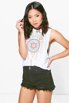 Boohoo Petite Leanna Aztec Print Drop Arm Vest