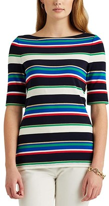Lauren Ralph Lauren Metallic Striped Boatneck Top (Polo Black Multi) Women's Clothing