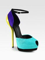 Giuseppe Zanotti Suede Colorblock Ankle Strap Pumps