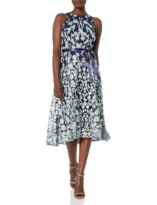 Tahari ASL Women's Sleeveless Lace Overlay Flare Skirt Party Dress