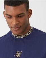 SikSilk Short Sleeve Tape Collar Essentials T-Shirt - Navy