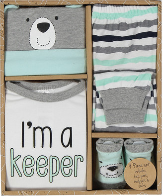 Baby Essentials Boys' Infant Bodysuits Grey - Gray & White 'I'm a Keeper' Bodysuit Set - Infant