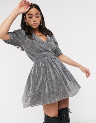 House of Holland glitter vneck mini dress in silver