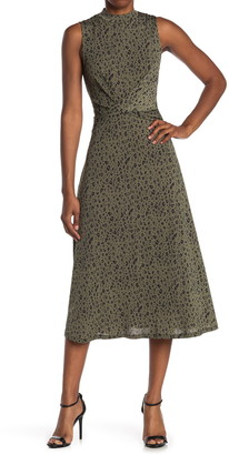 WEST KEI Leopard Print Mock Neck Twist Front Midi Dress