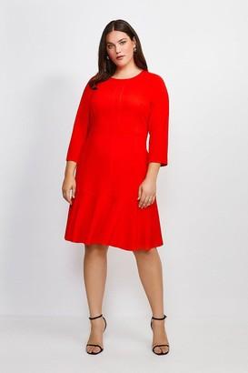 Karen Millen Curve Long Sleeve Ruffle Hem Dress