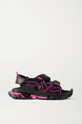 Balenciaga Track Logo-detailed Leather And Rubber Sandals - Black