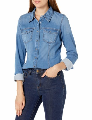GUESS Women's Long Sleeve Slim Fit Denim Snap Shirt