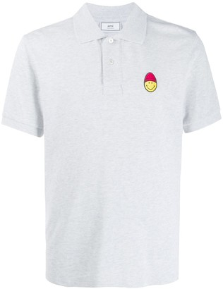 Ami Men Short Sleeve Polo Shirt With Smiley Patch