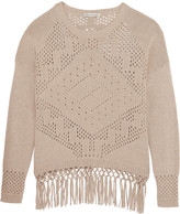 Autumn Cashmere Fringed open-knit cotton sweater