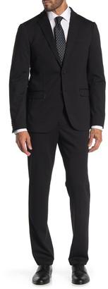 Savile Row Co Black Solid Two Button Notch Lapel Knit Trim Fit Suit