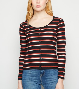 New Look Ribbed Stripe Button Front Top