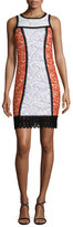 Andrew Gn Sleeveless Colorblock Lace Shift Dress, Cream/Poppy