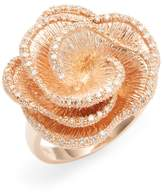 Effy Women's 14K Rose Gold Diamond Flower Ring